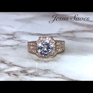 Jewelry - Stainless Steel Rose Gold Tone CZ Stone Ring